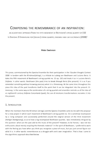 Composing The Remembrance Of An Inspiration